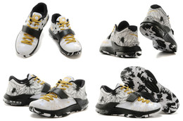 Wholesale With Box New Model High Quality Kevin Durant KD USA White Black Gold Men s Basketball Sport Footwear Shoes
