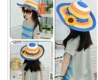 Cheap Fashion summer Princess cap Fashion sun hats beach hat sun straw hat children sun flower caps Free shipping HA133