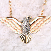 Wholesale Flag Enamel Eagle Crystal Gem Gold Drop Chunky Collar Choker Statement Necklaces Pendants Fashion Jewelry Women N135
