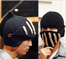 Wholesale Mens Women Knit Face Warmer Beard Moustache Hat Skull Cap Beanie Christmas Gift