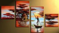 achat en gros de peinture à l'huile de paysages peints à la main-4 pièces / ensemble Paysage africain peinture à l'huile abstrait Paysage toile peinte à la main toile art décoratif décoration