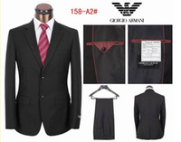 Wholesale 2014 Italian Luxury brand Fashion Mens High Grade Grey Black Suits Jacket Pants Formal Dress Men Suit mens wedding suits groom tuxedos Set