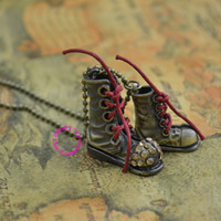 Cheap Wholesale Fashion retro classic vintage new woman lady girl bronze crystal funny cute nice beautiful boot shoe chain Necklace