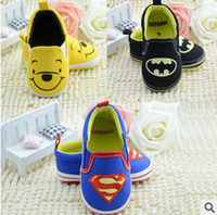 batman shoes - 2014 hot sales baby Boys Toddler shoes lovely batman superman Winnie the Pooh Soft Sole antiskid Cartoon shoes color pairs