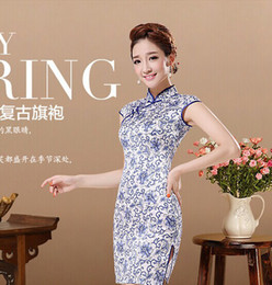 Wholesale Hot selling summer cheongsam one piece dress vintage blue and white porcelain cheongsam short design