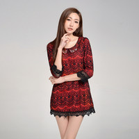 Wholesale Clearance charm round neck hit the color waist chain link fence nine points sleeve dress spring models TY0001