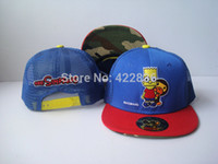 Wholesale The Simpsons Kids Mesh Snapback hats fashion youth children baseball caps styles hip hop cap