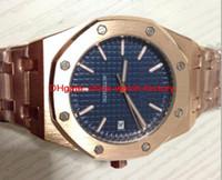 Wholesale AP Automatic Brand Luxury Mens Royal Offshore Rose Gold Bezel Blue background original clasp mechanical stop watch