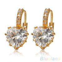 Wholesale Women s K Gold Plated Clear Heart Rhinestone Crystal Everlasting Gold Hoop Earrings