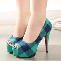 Wholesale British style blue grid peep toe pumps stiletto heel ladies shoes heels platform pumps size to