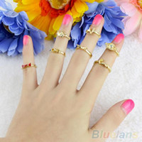Cheap 7 Pcs Finger rings for women Bowknot Crown Nail Mid Midi Knuckle Tail Stacking Rings