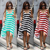 Cheap Womens Boho Neck Stripes Summer Beach Long Maxi Dress