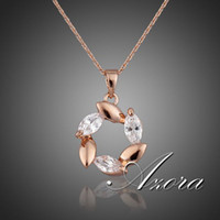 Cheap Rose Gold Plated Flower Cubic Zirconia Diamond Pendant Necklace FREE SHIPPING!(Azora TN0050)