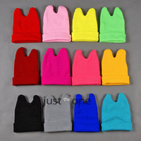 Wholesale Lovely Cat Ear Style Knitted Hat Soft Warm Winter Elastic Acrylic Blended Beanie Candy Color