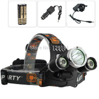 Cheap Wholesale-BIG SALE 1 set 5000 lumens headlamp +2*4000mah battery +AC CAR Charger! 3x CREE XM-L XML T6 LED 5000 Lumens Headlight Headlamp