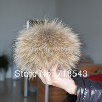 Wholesale Raccoon fur pom poms cm to cm key chain real fur hat in winter hats for women kintted hat fur cap children accessories