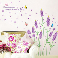 Wholesale Lavender Flowers Butterfly Vinyl Wall Stickers Purple Romantic Home Decoration Removable Wall Decals Paper for Living Room X70