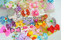dog grooming bows - New Mix Designs Rhinestone Pearls Style dog bows pet hair bows dog hair accessories grooming products Cute Gift