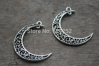 antique jewelry supplies - Wholesle pcss Antique Silver Hollow Crescent Moon Charms Pendant Jewelry Supplies Connector Link Drops mm