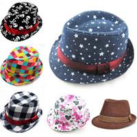 Wholesale Mixed Style Fashion Children Hat Dicers Kids Trilby Fedora Hats Cowboy Hat Kids Boy Girl Jazz Cap Summer Sun Hat Drop Ship