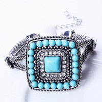 Wholesale Infinity Women Noosa Chunks Hand Chain Bracelet Lady Turquoise Rhinestone Jewelry Bracelet For Party Christmas Presents SZ6096
