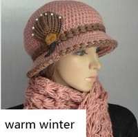 Wholesale 2014 New Korean Lady Winter Pure Handmade Knitted Hat and Fox Fur Flower Scarf Hat Scarf Sets