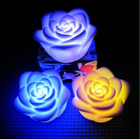 Color Change LED Candles - colorfull Romantic color changing rose flower RGB LED Night light Candle Lamp Party Decor LJJA852