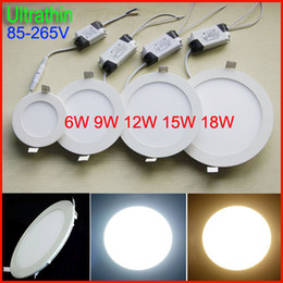 Ultrathin 6W 9W 12W 15W 18W LED Panel Lights SMD2835 Downlight 85-265V With Power Supply Fixture Ceiling Down Lights Warm white Cool white