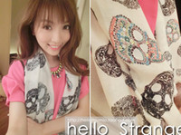 Wholesale Skull Scarves diamond Chiffon Designer Ladies Cheap Scarves Hand Painted Silk Jewelry for Unique Scarfs for women Size cm A604