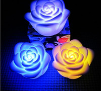 Wholesale colorfull Romantic color changing rose flower RGB LED Night light Candle Lamp Party Decor Frozen A852