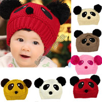 Wholesale TOP sale lovely animal panda baby hats and caps kids boy girl crochet beanie hats winter cap for children to keep warm b14