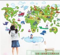 Wholesale world map cartoon wall stikcers Lovely baby room stickers cm