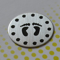 baby foot design - 10pcs Large baby foot Stainless Steel Living Locket Plate fit mm floating lockets designs for your choice