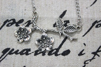 antique copper findings - Antique silver Plum Flower Branch Finding on Thin Copper Chain Adjustable with Extension Chain