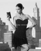 Wholesale Sexy Short Black Homecoming Dresses Sweetheart Crystal Beading Feathers Semi Formal Party Gowns Cocktail Dress