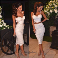 Wholesale Celebrity Sexy Lace Piece Bandage Dress Black White Casual Party Prom Evening Party Club dresses Women Two Piece Outfits Dresses AL007