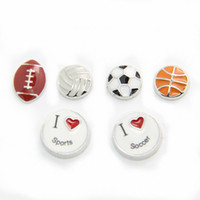basketball fun - Wholesle Fun Love Sports Floating Locket Charms for Living Locket basketball football soccer volleyball I love sports FLC005