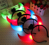 Wholesale Devil Horn Headband Hair LED Flash Battery Included Halloween Accessory Led Rave Toy LED Lighted Toys Gifts