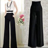 Cheap Womens Career Wide Leg Long Pants OL Loose Casual Black Slim High Waist Flare Vintage Palazzo Trousers S-2XL P10