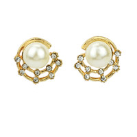 Cheap Big White Pearl Moon Round Hollow Out Gold Plated Stud Earring 2014 Fashion Jewelry Innovative Items For Women