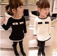 Wholesale Chinese Sale Suits - black white suit for 3-7T autumn winter HOT Sale GOOD QUALITY new office girls dresses Children quilted long-sleeved dress