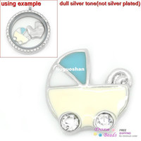 Cheap Floating Charms For Floating Glass Locket Pendants Baby Pram Silver Tone Clear Rhinestone Enamel 12mm x 12mm (K00995)8seasons