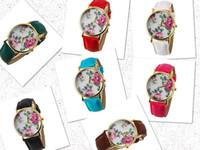 Wholesale Exquisite gift invicta Fashion Flower Pattern Dial PU Band women s sapphire Wrist Watches forladies girl student winner
