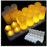 Wholesale Popular set amber Rechargeable Candle Lamp LED night Lights Realistic Tea Candles for party bar