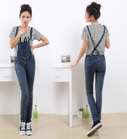 Wholesale New autumn outfit jumpsuits women s a pencil Han edition cross straps low rise jeans buttons conjoined trousers