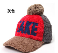 Wholesale 2014 New Winter Plush Ball Letter Baseball Cap Thermal Cap Winter Hats