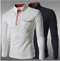 Wholesale and retail Dress Shirts Men s Fashion Luxury Stylish Casual Designer Dress Polka Dot Shirt Muscle Fit Shirts
