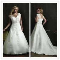 Wholesale 2014 Gorgeous Plus Size Wedding Dresses Satin V Neck Capped Beaded Sequins Belt Lace Appliques Zipper Court Train Wedding Bridal Gowns