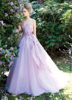 Wholesale 2014 Light Purple Organza Strapless Wedding Dresses With Applique Back Lace Up Hand Made Flower A Line Wedding Dresses Formal Gowns Hot XR