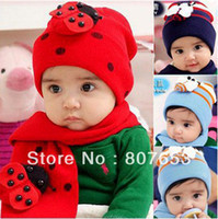 baby snow bibs - freeshipping HOT Fashion Cute Cool Baby hat scarf set Children Winter Wool Snow Knit Beetle Cap Scarf Bib baby gifts sets